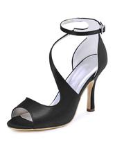 Женская свадебная обувь Deep Blue Peep Toe Stiletto Ankle Strap Bridal Sandals