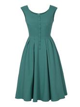 Vintage Kleider Grün  50er jahre mode mit Knöpfen Polyester Rockabilly kleid ärmellos Kleider und Rundkragen Alltagskleidung Damenmode für Sommer