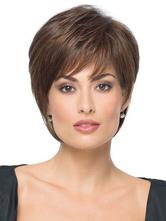 Cabelo Humano de cabelo humano para mulher chique & moderna cabelo falso 8 polegadas Pixies & Boycuts marrom escura Em Camadas
