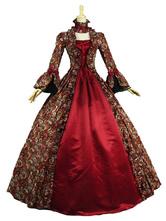 Karneval Kostüm Halloween Mittelalter Kleidung Lange Ärmel Rot und Spitzen und Rüschen Barock Kostüm Rokoko Kleid Renaissance Kleidung Viktorianische Königin Kostüm Faschingskostüme