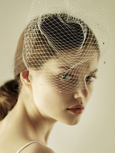 Birdcage Wedding Veil White Net Cut Edge Short Bridal Blusher Veils