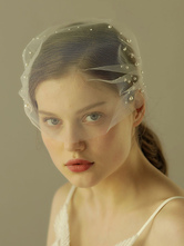 Birdcage Wedding Veil Short Pearls White One Tier Cut Edge Bridal Blusher Veils