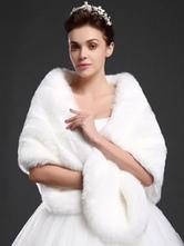 Abrigo de piel sintética para fiesta Color liso de lujo con 1/2 manga