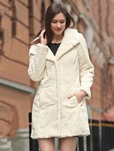 Women Faux Fur Coat Long Sleeve Pockets Hooded White Women Coat