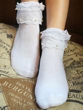 Classic Lolita Socks Lace Pearls Layered Ruffles White Lolita Socks