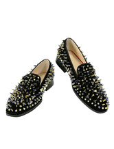 Black Prom Shoes Men Loafers Round Toe Leather Slip On Spike Shoes