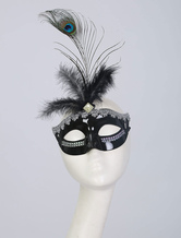 Halloween Flapper Mask Black Feather 1920s Vintage Costume Accessories For Women Halloween