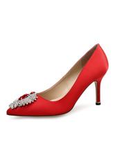Zapatos de tacón de stiletto de puntera puntiaguada de satén azul elegantes para boda PA0FQ9Q