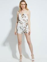 5517171b Monos con tirantes con estampado de flores informal 3D chifón sin mangas  estilo de playapara mujer