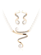 Wedding Necklace Set Gold Pearls Rhinestone Curved Bridal Jewelry Set