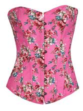 Розовые женские корсеты зашнуровать Милая шея без рукавов Печатная сексуальная талия тренер
