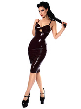 Black Club Dress Catsuit Sleeveless Backless Cut Out PVC Pole Dance Sexy Dress For Women