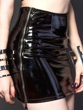 Women Club Skirt Leather Like Zipper Sexy Black Mini Pencil Skirt