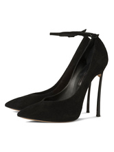 Women's Sexy High Heels Suede Ankle Strap Pointed Toe Stiletto Heels Pumps in Black