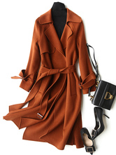 Женское шерстяное пальто Темно-оранжевый длинный рукав отложной воротник Кашемировые обертывания