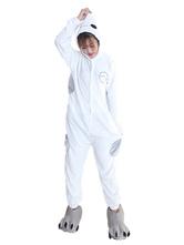 Kigurumi Pajama Baymax Halloween White Flannel Unisex Winter Jumpsuit With Footwear Halloween