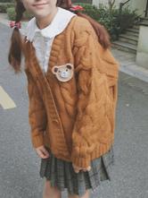 Sweet Lolita Coat V Neck Long Sleeve Jacquard Brown Lolita Sweater