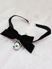 Sweet Lolita Choker Bell Bows Black Lolita Necklace