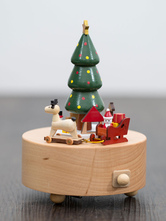 Wooden Music Box Christmas Tree Santa Claus Holiday Personalized Valentine Gifts For Family