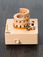 Wooden Music Box Rome Colosseum Square Base Personalized Valentines Gift 2018 For Friend