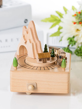 Wooden Music Box Mini Trains Holiday Personalized Valentines Gift For Kids