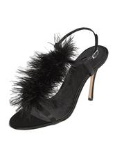 Sandales Satin En Femme Pour Plume Été Féminine Noir Mode Avec rBCxodeWQ