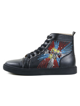 Black Skate Shoes Round Toe Rhinestones Embroidered Lace Up High Top Sneakers