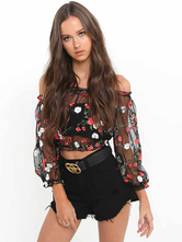 Black Crop Top Off The Shoulder Long Sleeve Ruffles Tulle Floral Print Blusa semi Sheer feminina