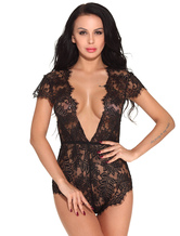 Black Sexy Teddies Lace Backless Lingerie For Women