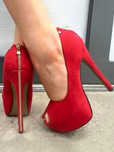 Sexy High Heels Red Peep Toe Stiletto Nubuck Zipper Slip On Pumps For Women