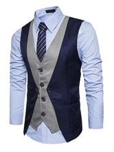 2021 Blazer Herren mit Farbblock Alltagskleidung REGULAR FIT und V-Ausschnitt im casualen Stil gemischten Baumwollen für Alltag Weste und Herren