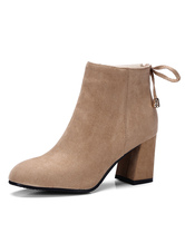 Women's Ankle Boots Apricot Round Toe Chunky Heel Bows Suede Winter Booties
