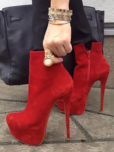 High Heel Booties Red Platform Zip Up Ankle Boots For Women