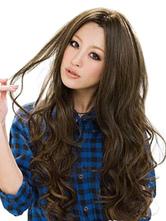 Женские синтетические парики с длинным полным объемным завитком Tousled Central Parting Deep Brown Wigs