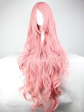 Peruca de Carnaval para Carnaval Despenteada em cabelo ondulado comprido para mulher cabelo falso Salmão Sintético de Alta Qualidade