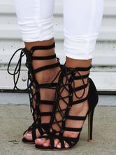 Sandali alla romana monocolore casuale éstate neri tacco a fino 11cm a punta aperta nubuck