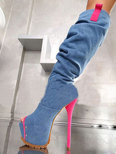 Над сапогами колена Peep Toe Stiletto Heel Two Tone Blue Thigh High Boots для женщин
