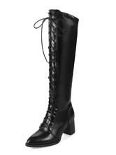 Cuissardes femme Bottes au genou noir bout pointu à lacet bottes hiver à talon épais