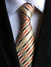 Gold Men's Tie Polyester Striped Neck Tie