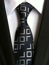 Men's Black Ties Polyester Checkered Dress Tie