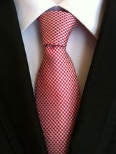 Red Men's Ties Polyester Two Tone Dress Tie