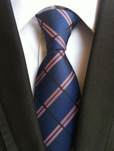 Deep Blue Ties Men's Plaid Dress Tie