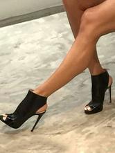 Black Sandal Booties Peep Toe Stiletto PU Slingbacks Ankle Boots For Women