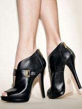 Black Sandal Booties Peep Toe Stiletto Heel PU Ankle Boots For Women
