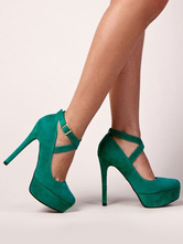 Women's Platform Shoes High Heel Stiletto Round Toe Nubuck Plus Size Pumps in Green