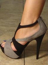 Sandalen Suede Textile für Straßen-Style im schicken & modischen Style und Sommer mit Farbblock in Grau Plusgröße für Damen