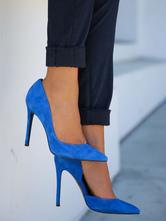Women's Blue High Heels Suede Pointed Toe Stiletto Heel Pumps