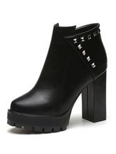 Bottine femme à bout rond et talons épais en PU noire unicolore avec rivet Boots