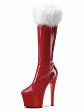 Botas con pala de laca brillante rojas Color liso estilo moderno 5DRQiJsx