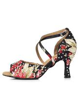 Zapatos de bailes latinos de punter Peep Toe Tacón bobina de satén negros con pedrería para baile Nhvhsz